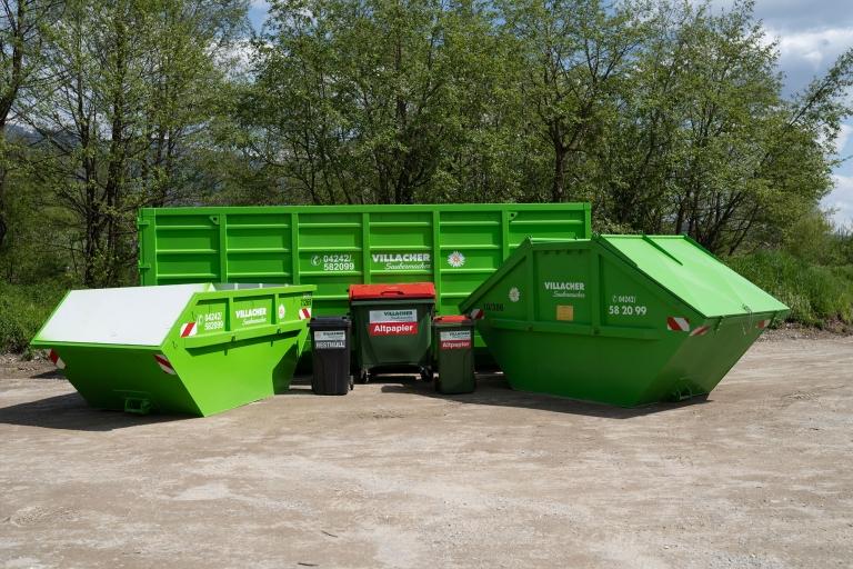 Verschiedene Behälter und Container vom Villacher Saubermacher