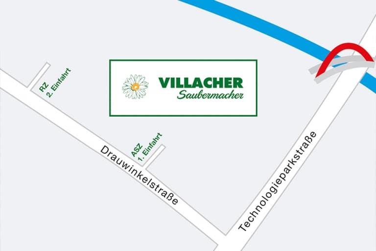 Anfahrtsplan zum Villacher Saubermacher